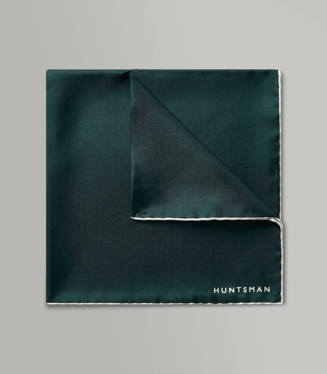 Huntsman Racing Green & White Silk Pocket Square