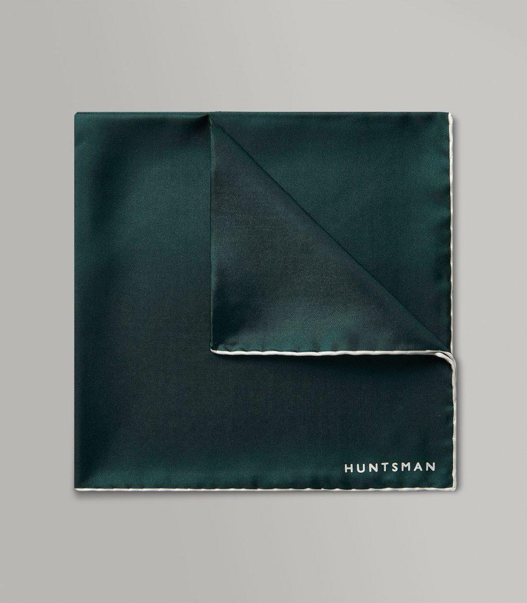 Huntsman Racing Green & White Silk Pocket Square