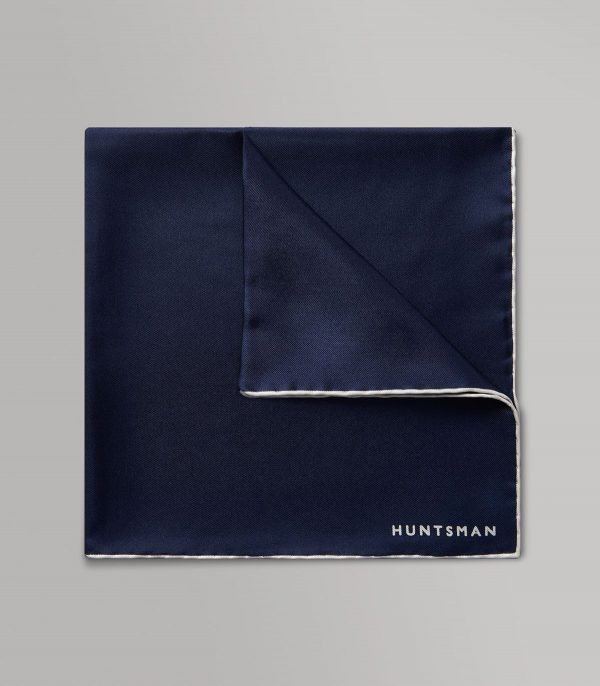 Huntsman Navy & White Silk Pocket Square