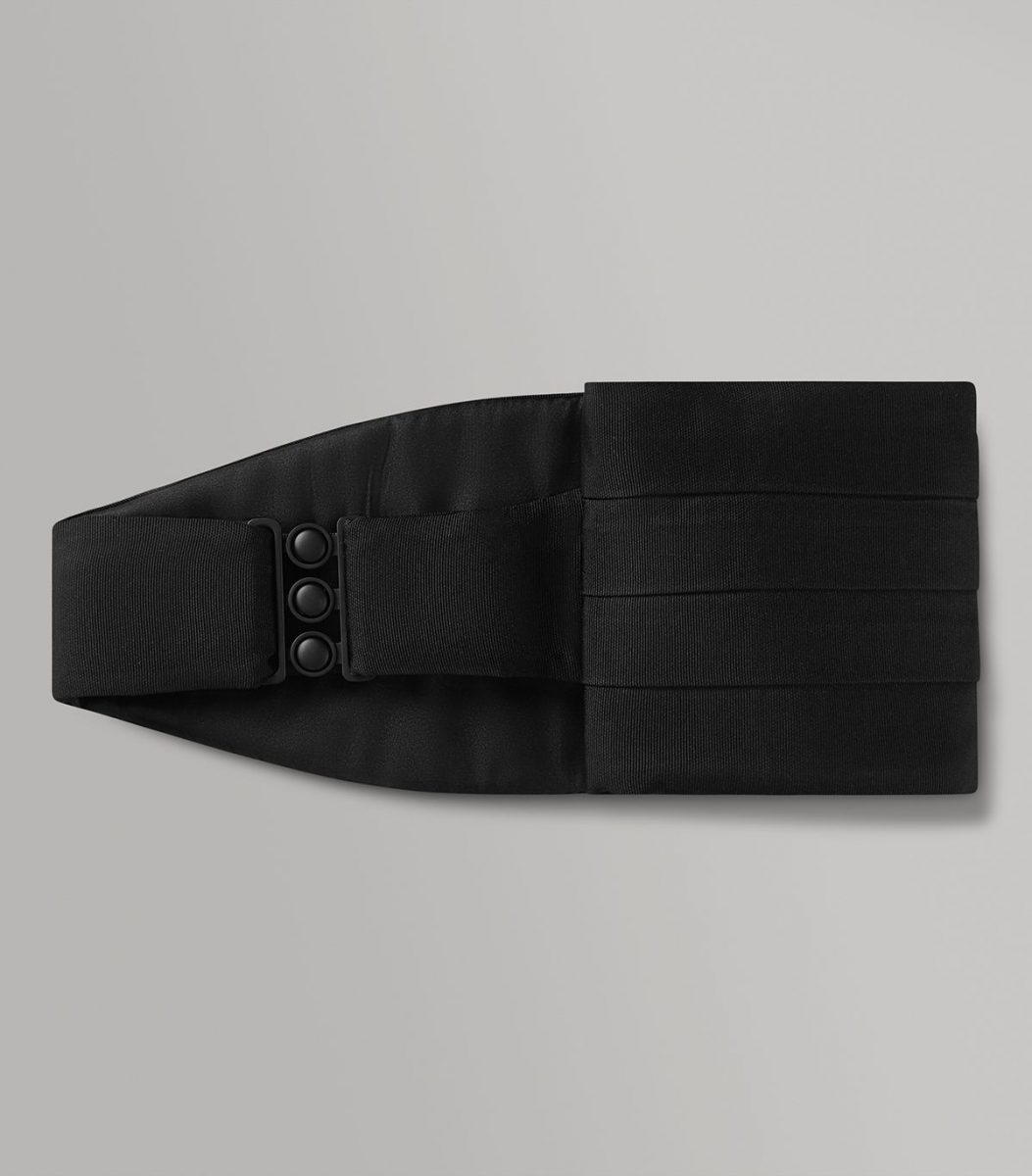 Huntsman Black Corded Silk Cummerbund