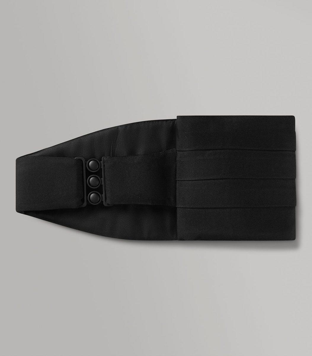 Huntsman Black Corded Silk Cummerbund