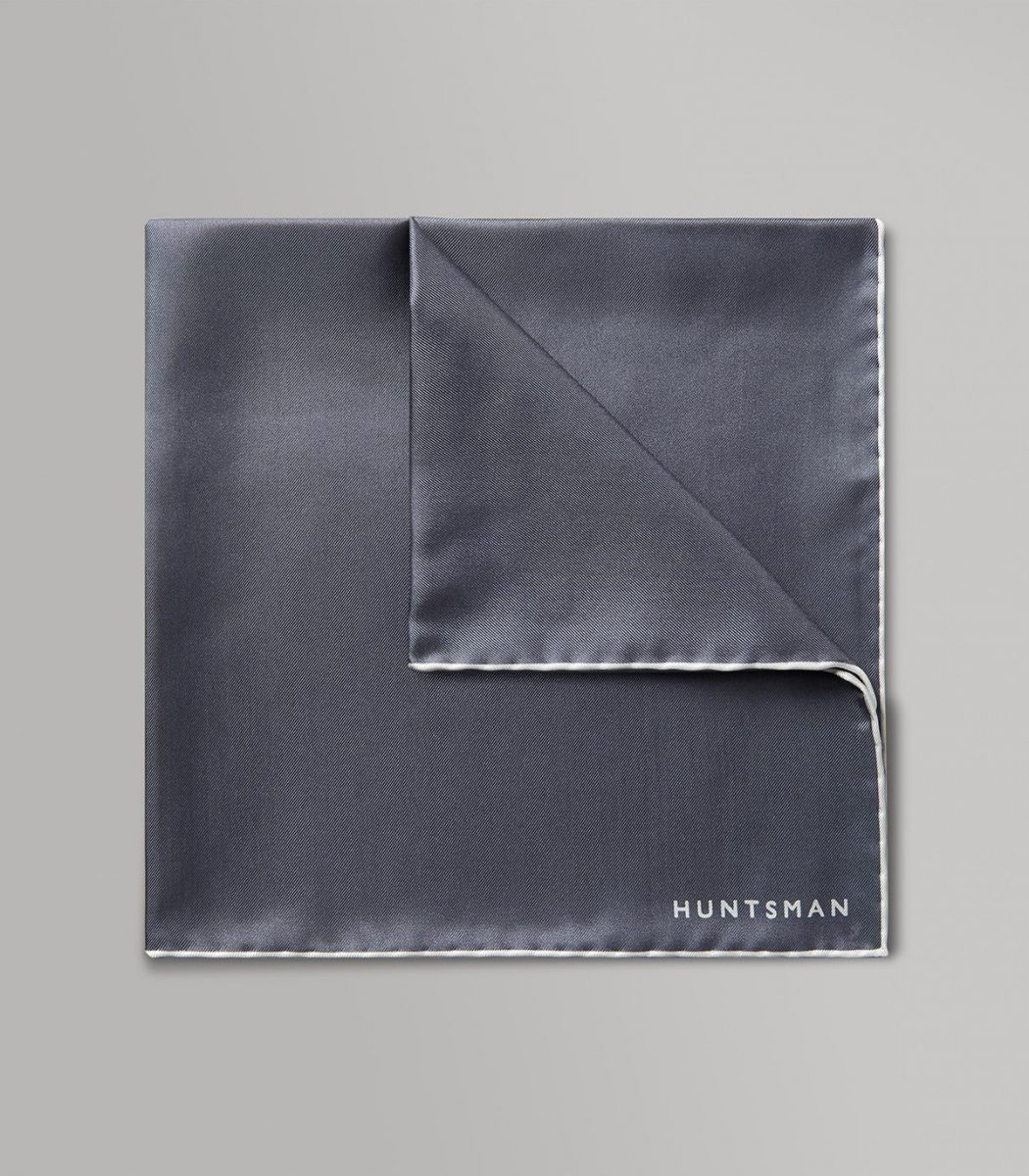 Huntsman Grey & White Silk Pocket Square
