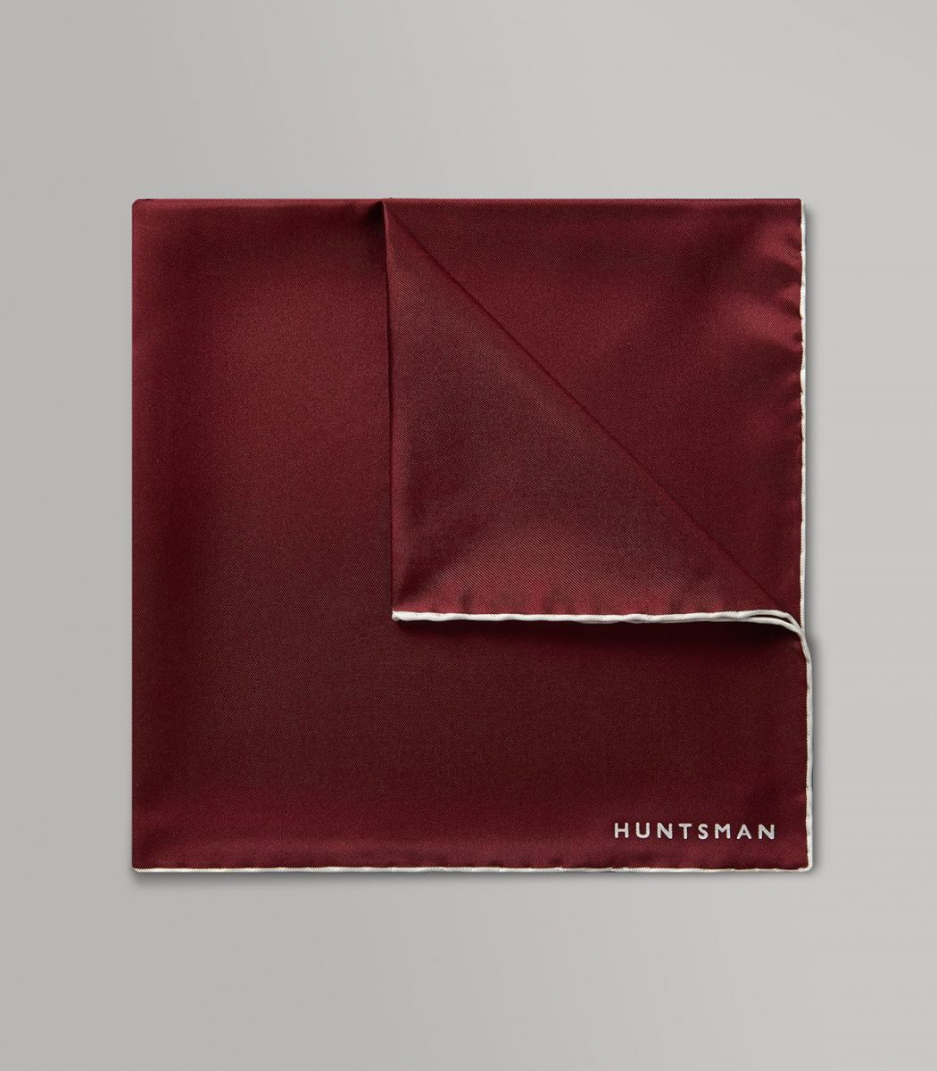 Huntsman Claret & White Silk Pocket Square