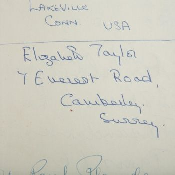 Huntsman Heritage - Hand written Name of Elizabeth Taylor with Address