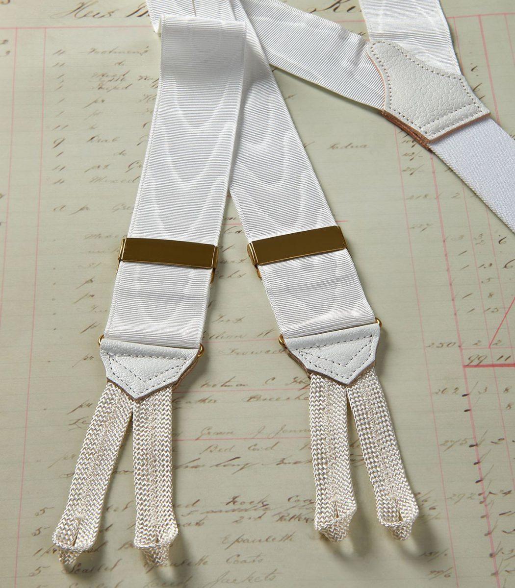 Huntsman White Moire Braces