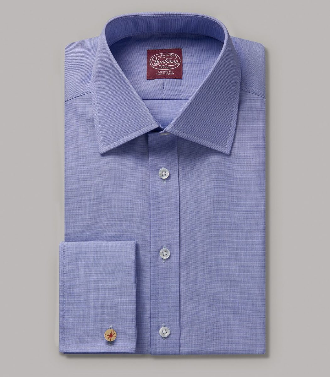 Blue End on End Classic Fit Double Cuff Shirt