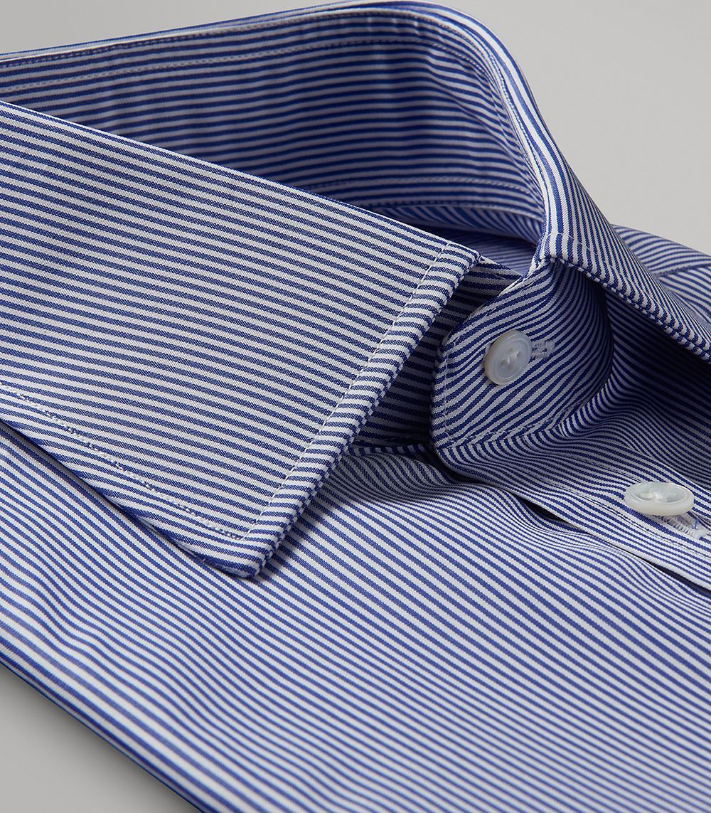 Navy Fine Bengal Stripe Classic Double Cuff Shirt