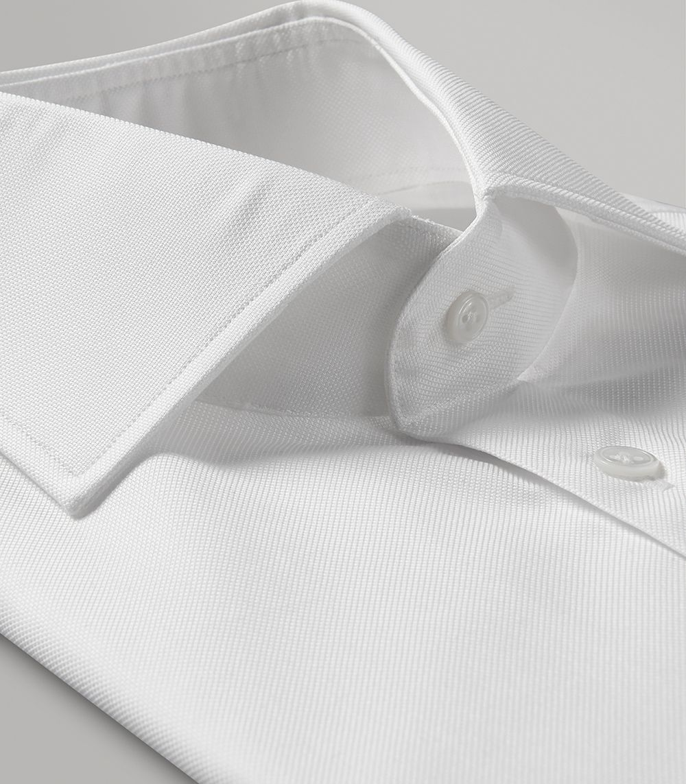White Oxford Slim Fit Button Cuff Shirt