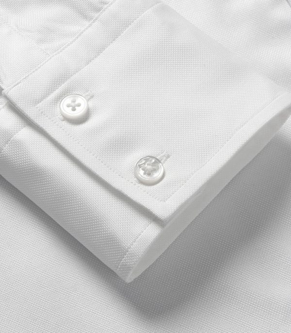 White Oxford Slim Fit Button Cuff Shirt