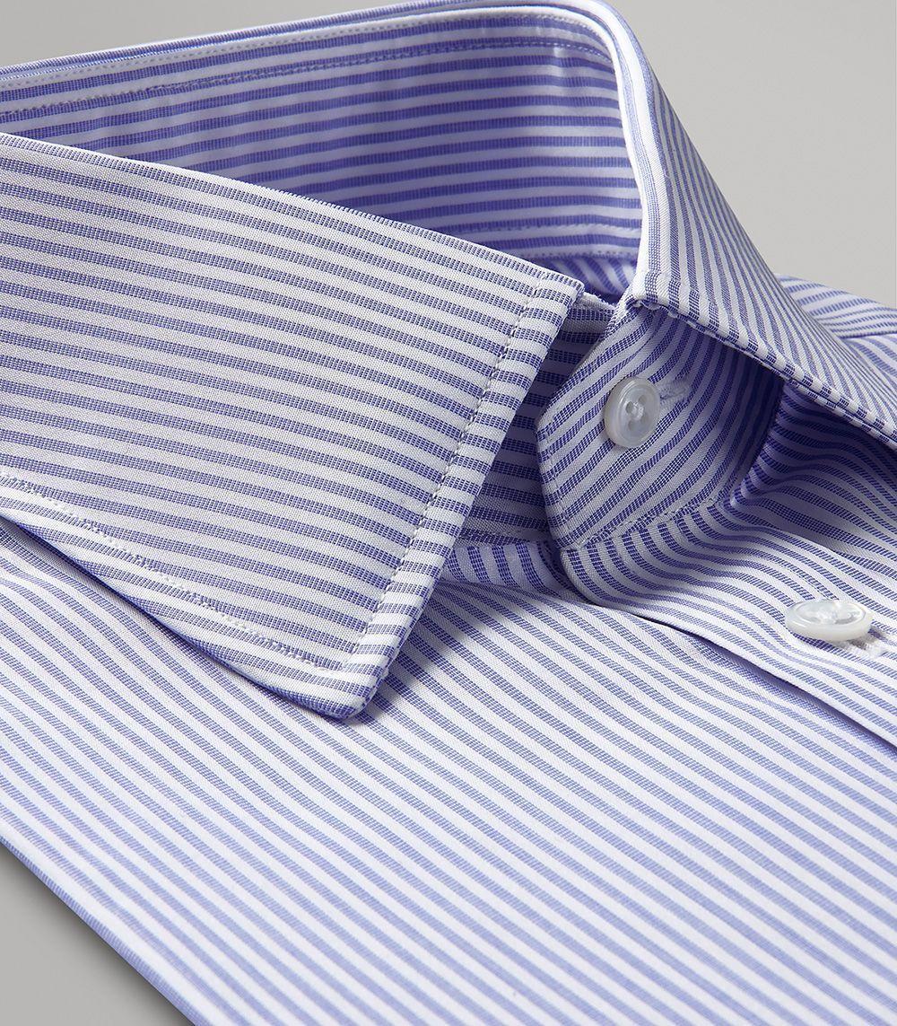 Blue Ladder Stripe Classic Double Cuff Shirt