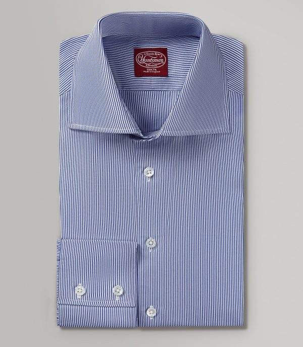 Navy Fine Bengal Stripe Slim Fit Button Cuff Shirt
