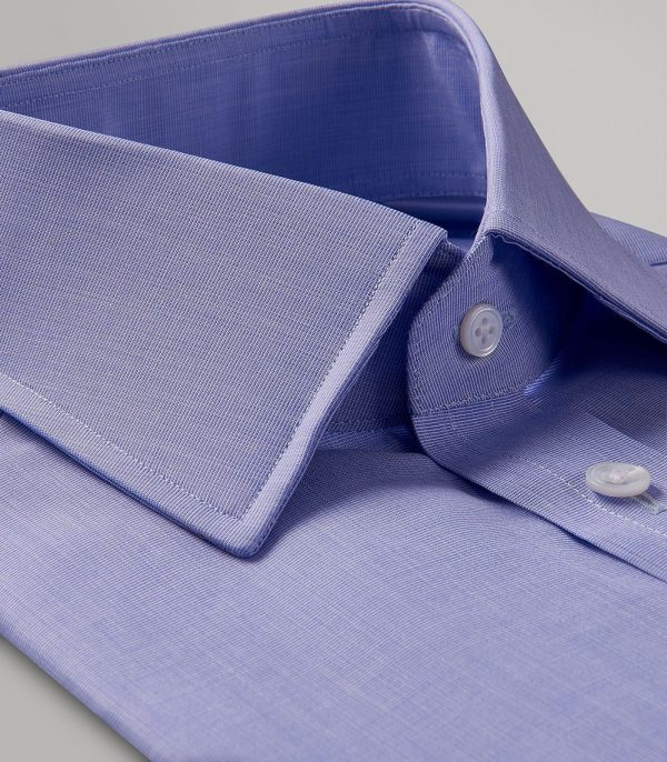 Huntsman Blue End on End Classic Fit Button Cuff Shirt
