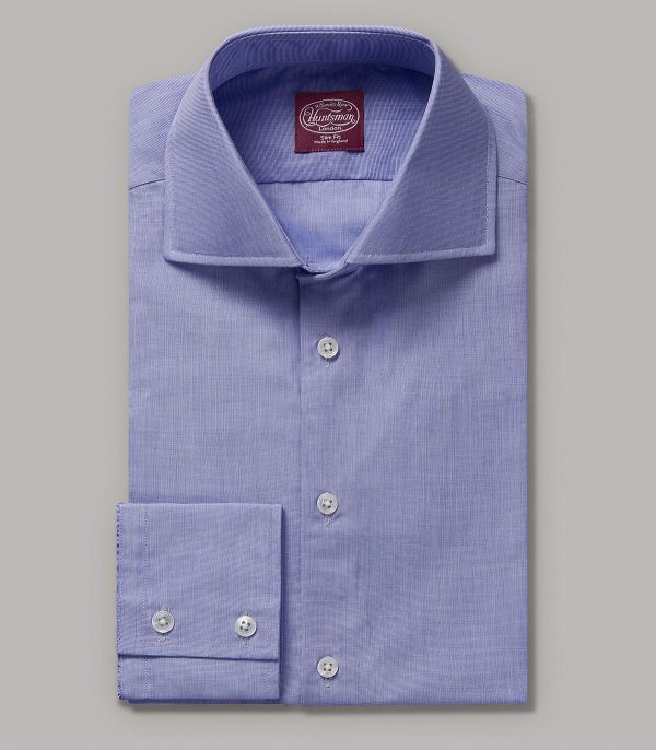 Huntsman Classic Blue End on End Slim Fit Button Cuff Shirt