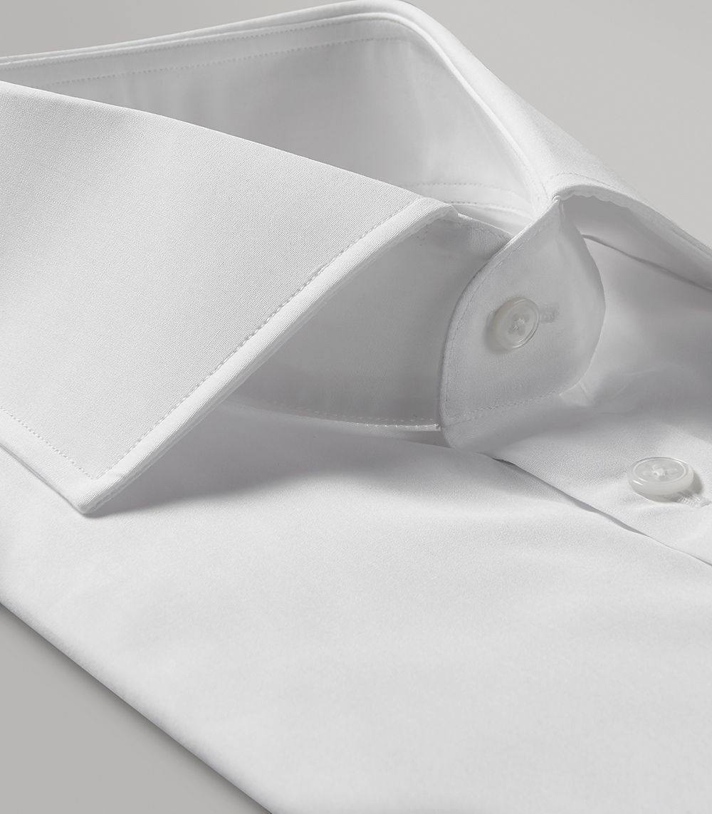 White Portland Slim Fit Button Cuff Shirt