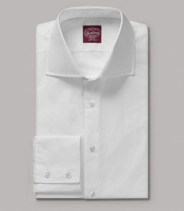 White Portland Slim Fit Button Cuff Shirt
