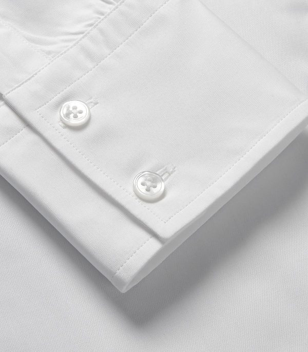 Huntsman White Portland Classic Fit Button Cuff Shirt