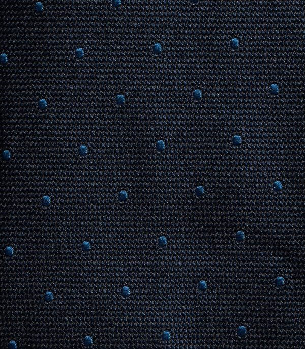 Midnight Blue and Butcher Blue Stitched Spot Tie - Zoomed Texture View