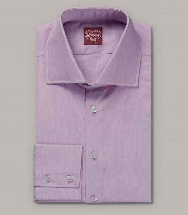 Pink End on End Slim Fit Button Cuff Shirt - Egyptian Cotton