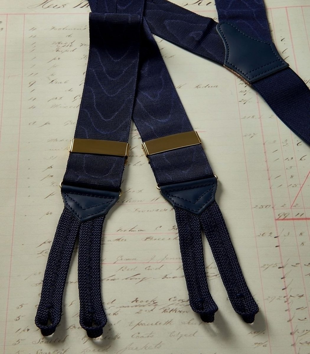 Navy Moire Trouser Braces