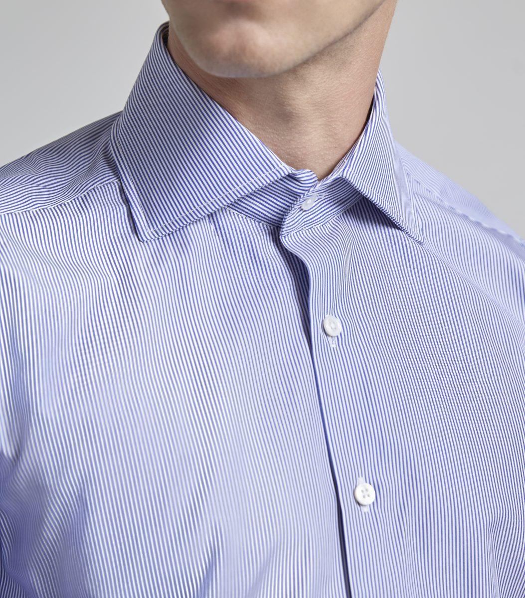 93b6b0bb45dcd0 Navy Fine Bengal Stripe Classic Double Cuff Shirt - Huntsman