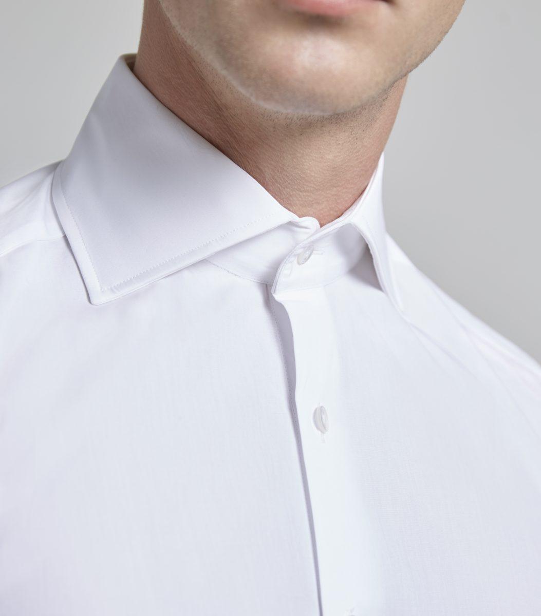 d3663e70962a White Poplin Marcella Slim Fit Double Cuff Shirt - Huntsman