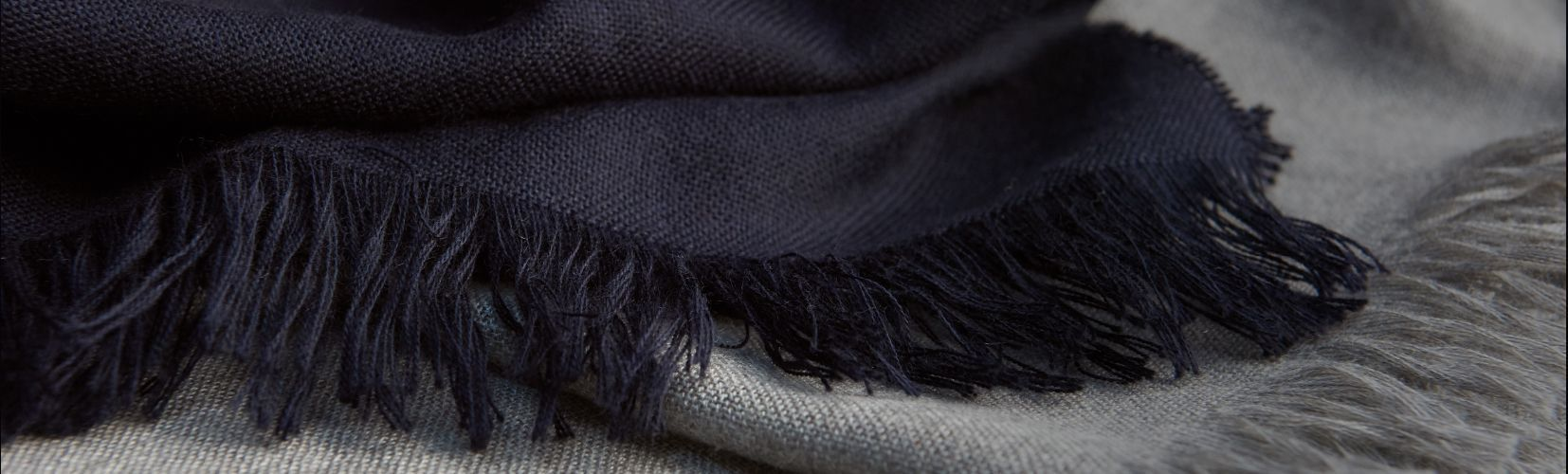 Huntsman Saville Row Accessories Shop Header Image - Navy and Grey Cashmere Scarves