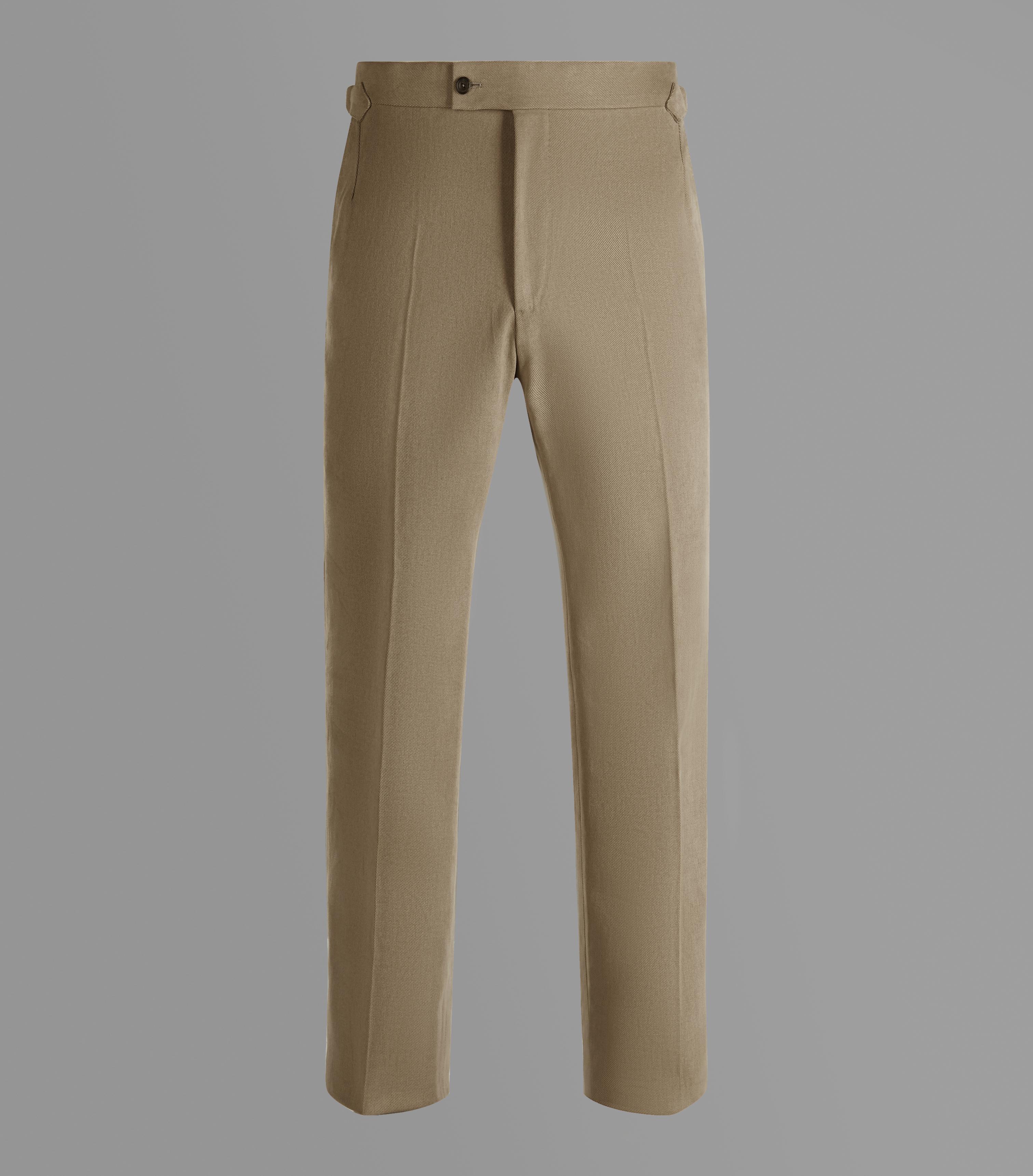 Huntsman Tan Brushed Cotton Trousers