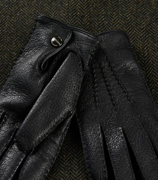 Black Genuine Peccary Leather Gloves