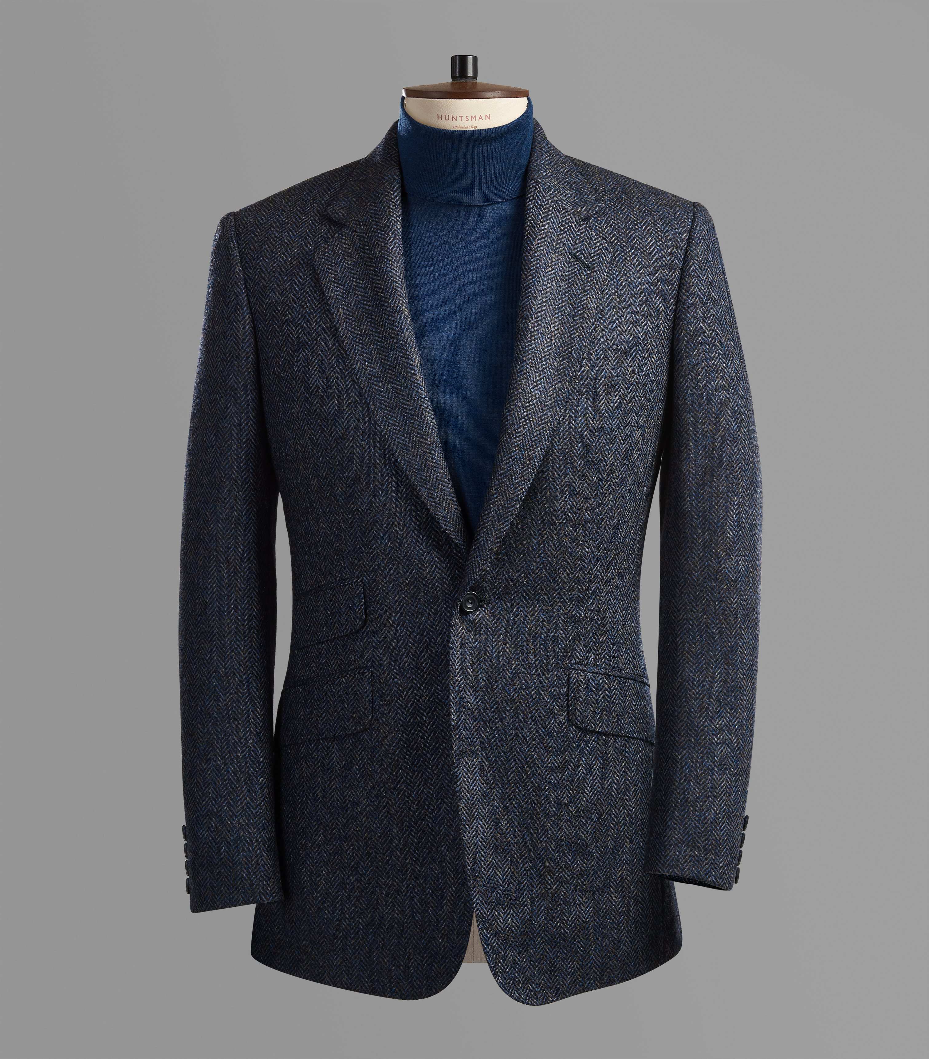 Blue Herringbone Tweed Sports Jacket Blazer