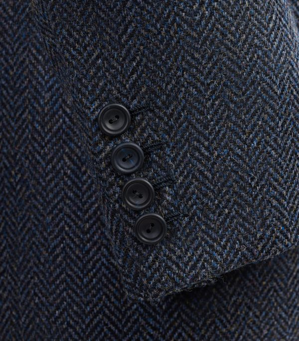 Blue Herringbone Tweed Sports Jacket Blazer