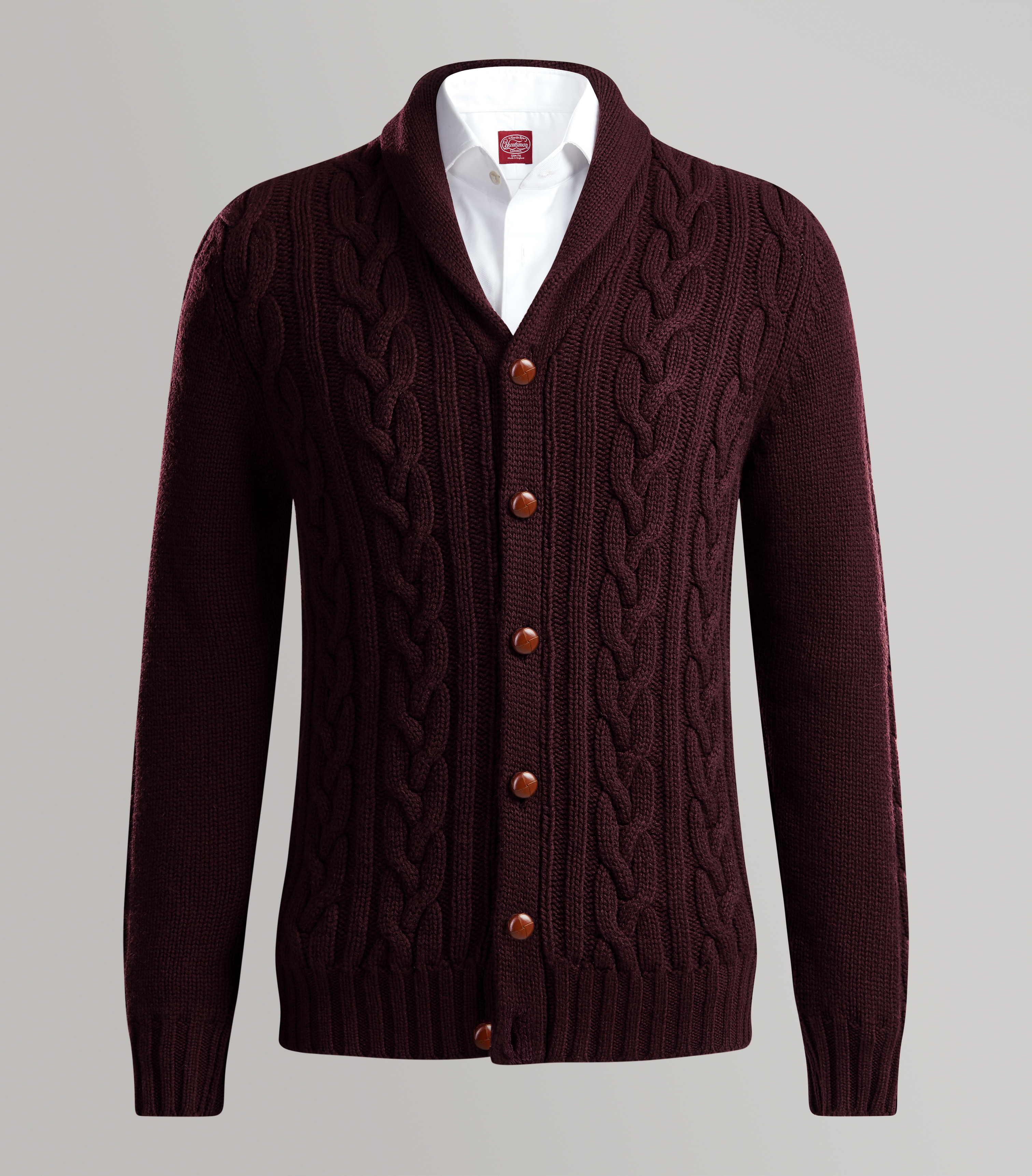 Claret Shawl Neck Cashmere Cable Cardigan