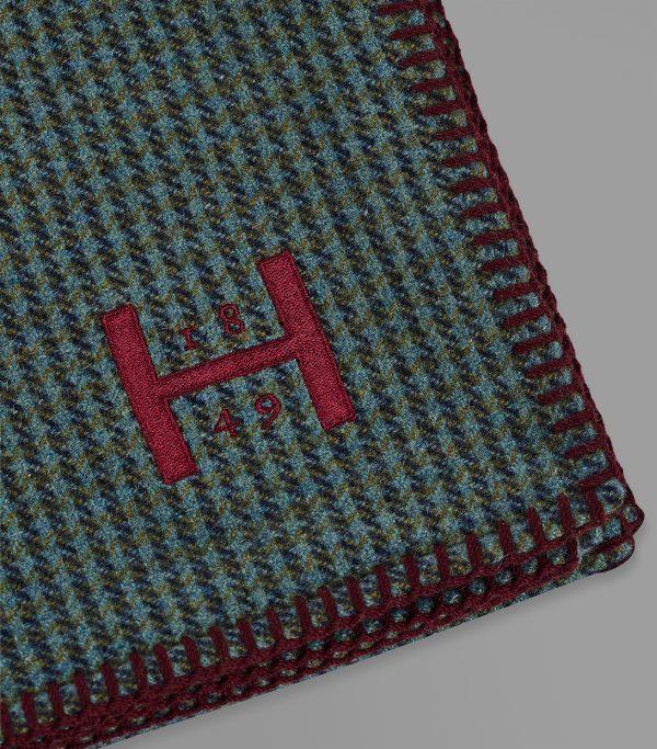 Huntsman Green Herringbone Cashmere Blanket Throw