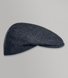 Huntsman Blue Herringbone Classic Flat Cap