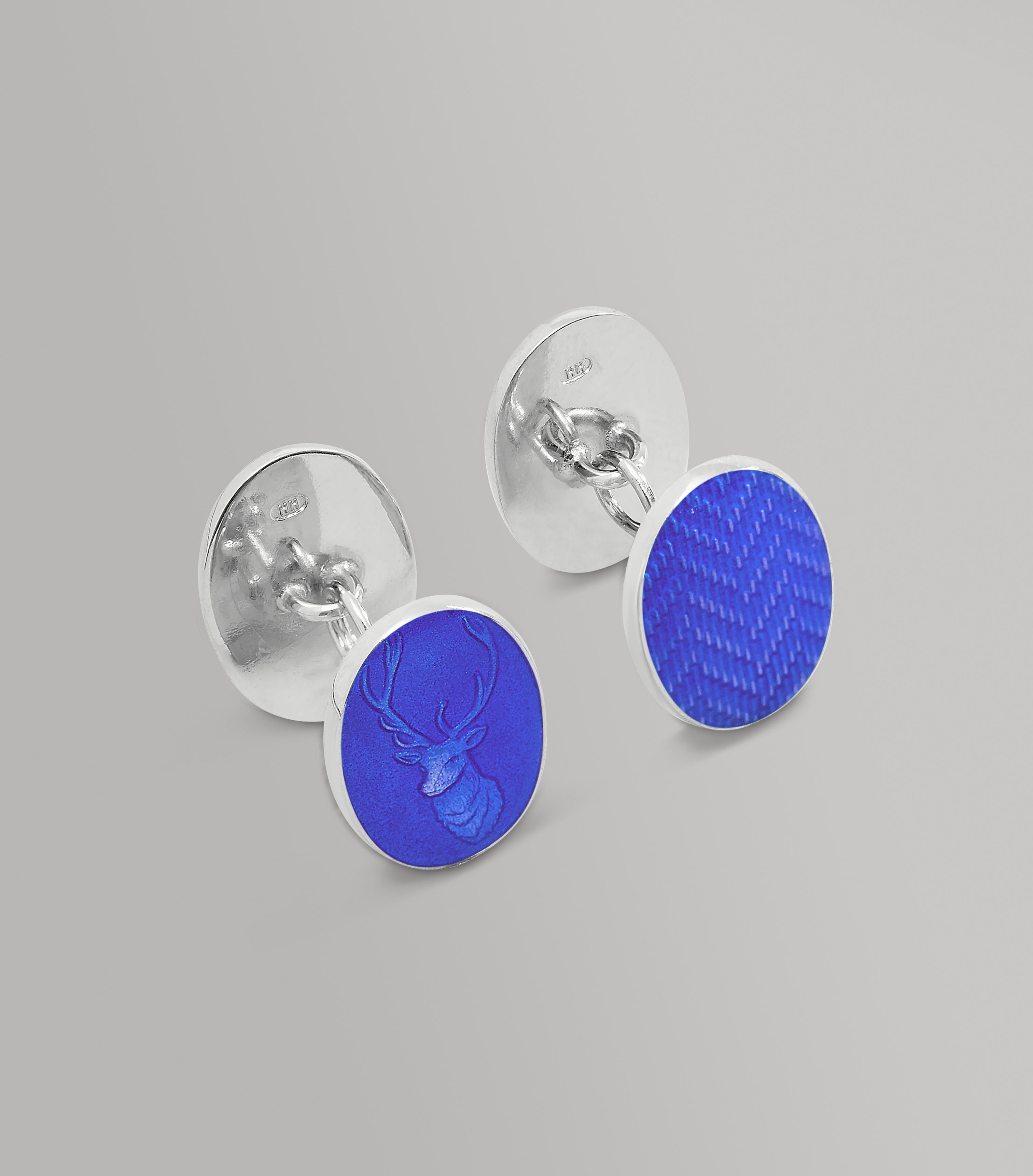 Sterling Silver Blue Stag Head Cufflinks