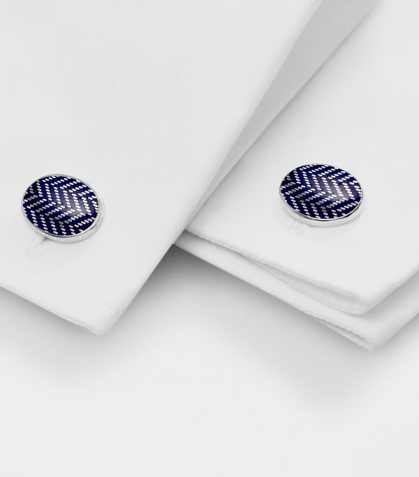 Huntsman Blue Herringbone Enamel Cufflinks