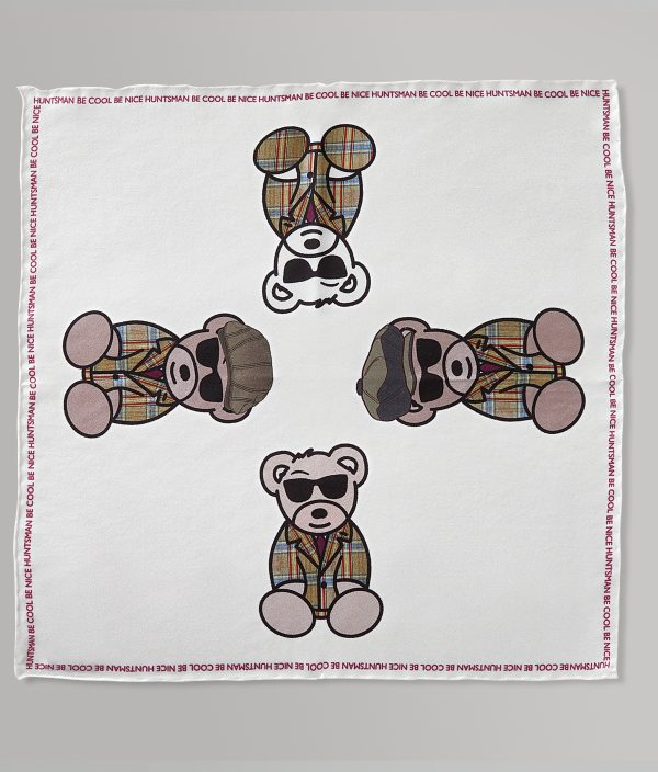 Be Cool Be Nice Teddy Silk-Twill Pocket Square Handkerchief