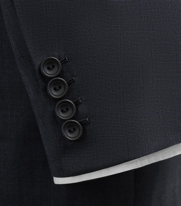 Huntsman Navy Pick and Pick Single Breasted Suit Cuff