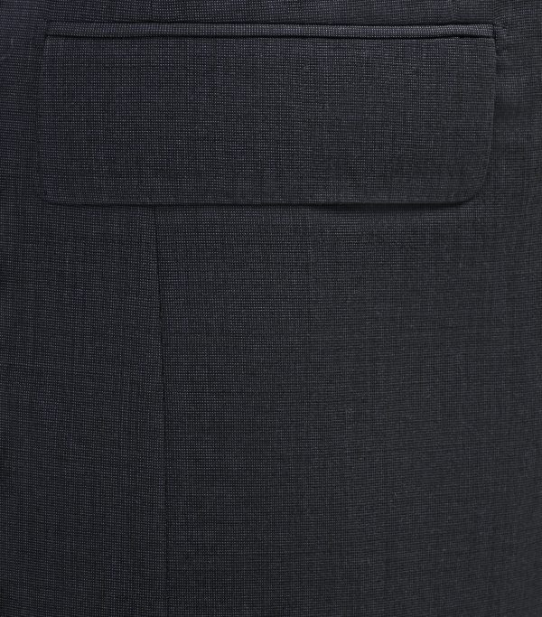 Huntsman Navy Pick and Pick Single Breasted Suit Pocket