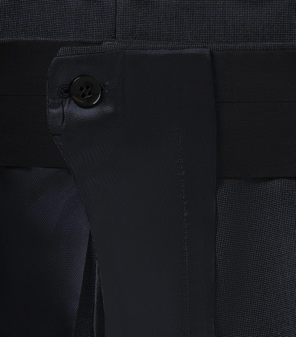 Huntsman Navy Pick and Pick Single Breasted Suit