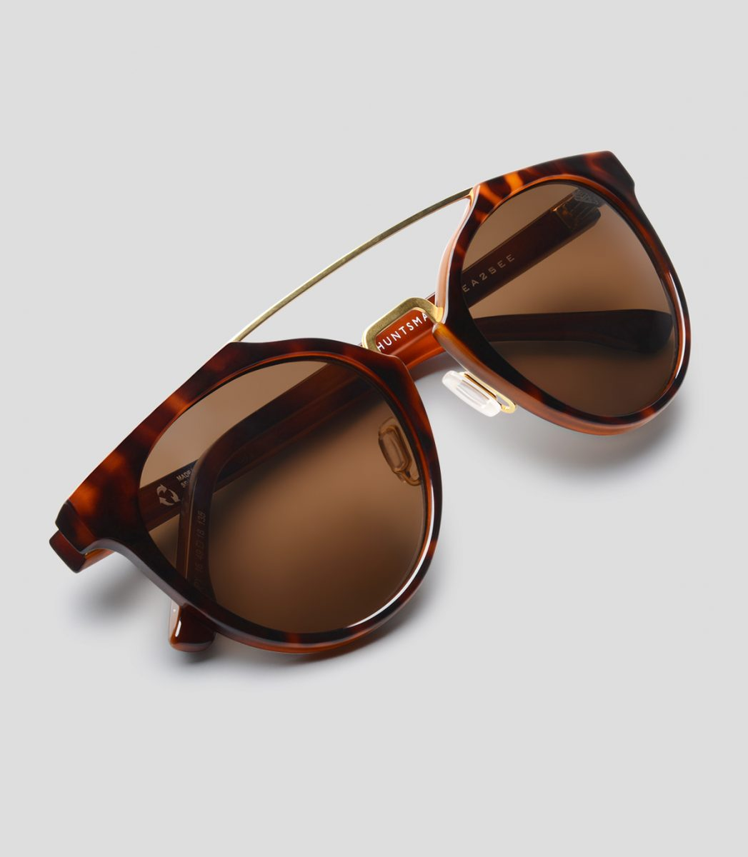 Spy 18 Shiny Brown frames, fume lenses, with gold bridge