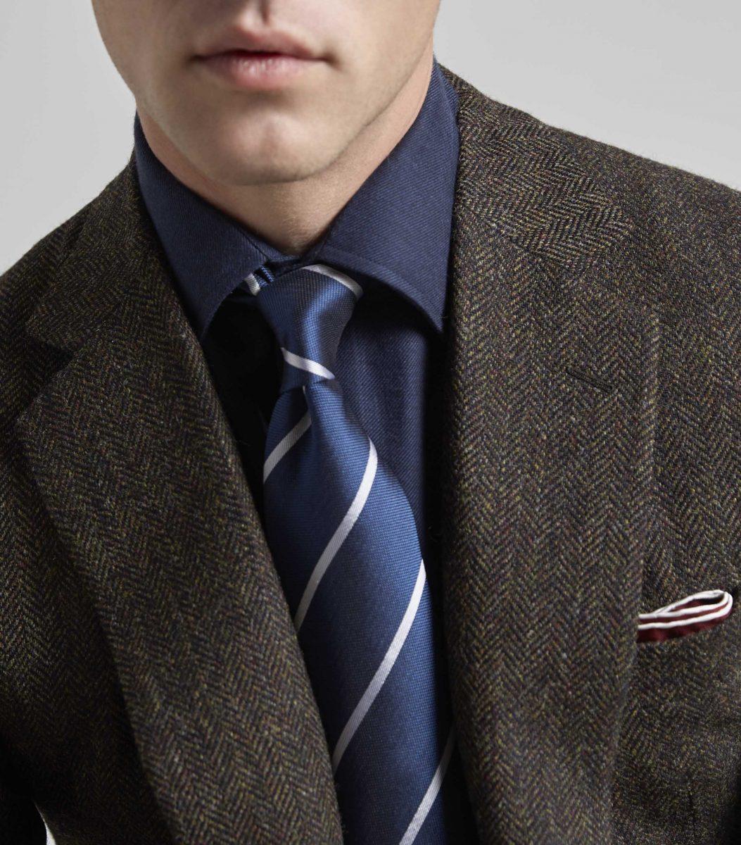 5c27fcb65bbf Butchers Blue Solid Repp Stripe Woven Jacquard Tie - Huntsman