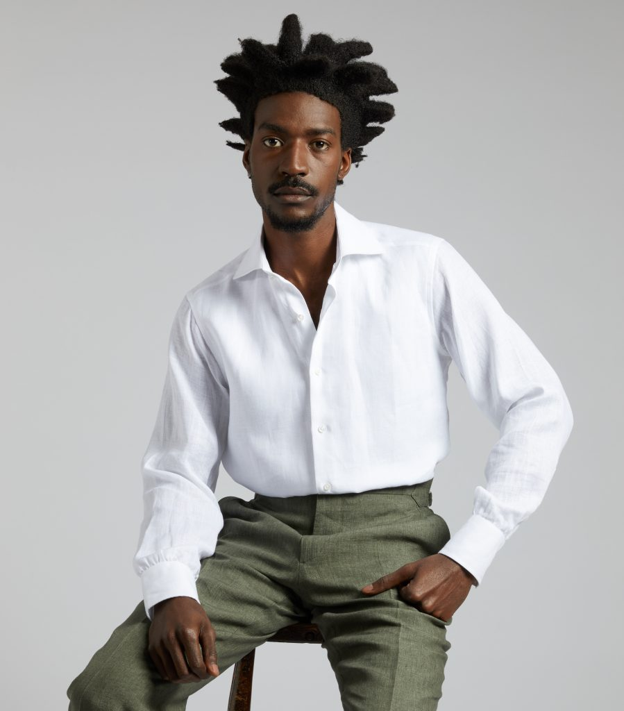 b4a1974812 White Plain Linen Slim Fit Flat Front 2BC Shirt