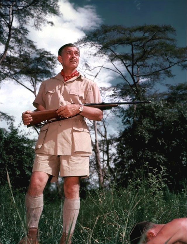 Clark Gable wears a Huntsman Safari jacket in Mogambo, 1953.