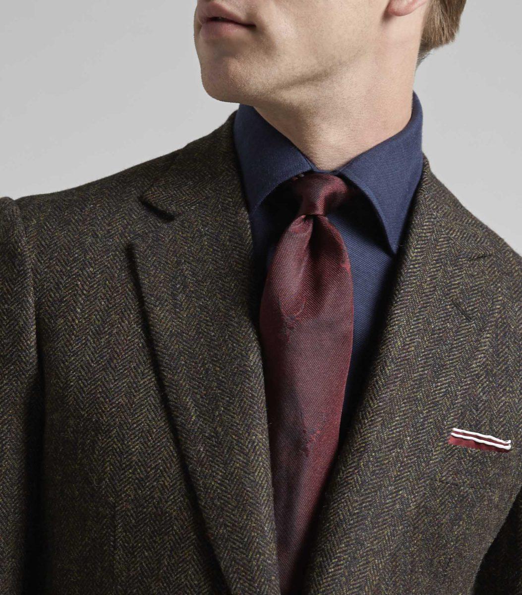 Burgundy Silk Stag Tie