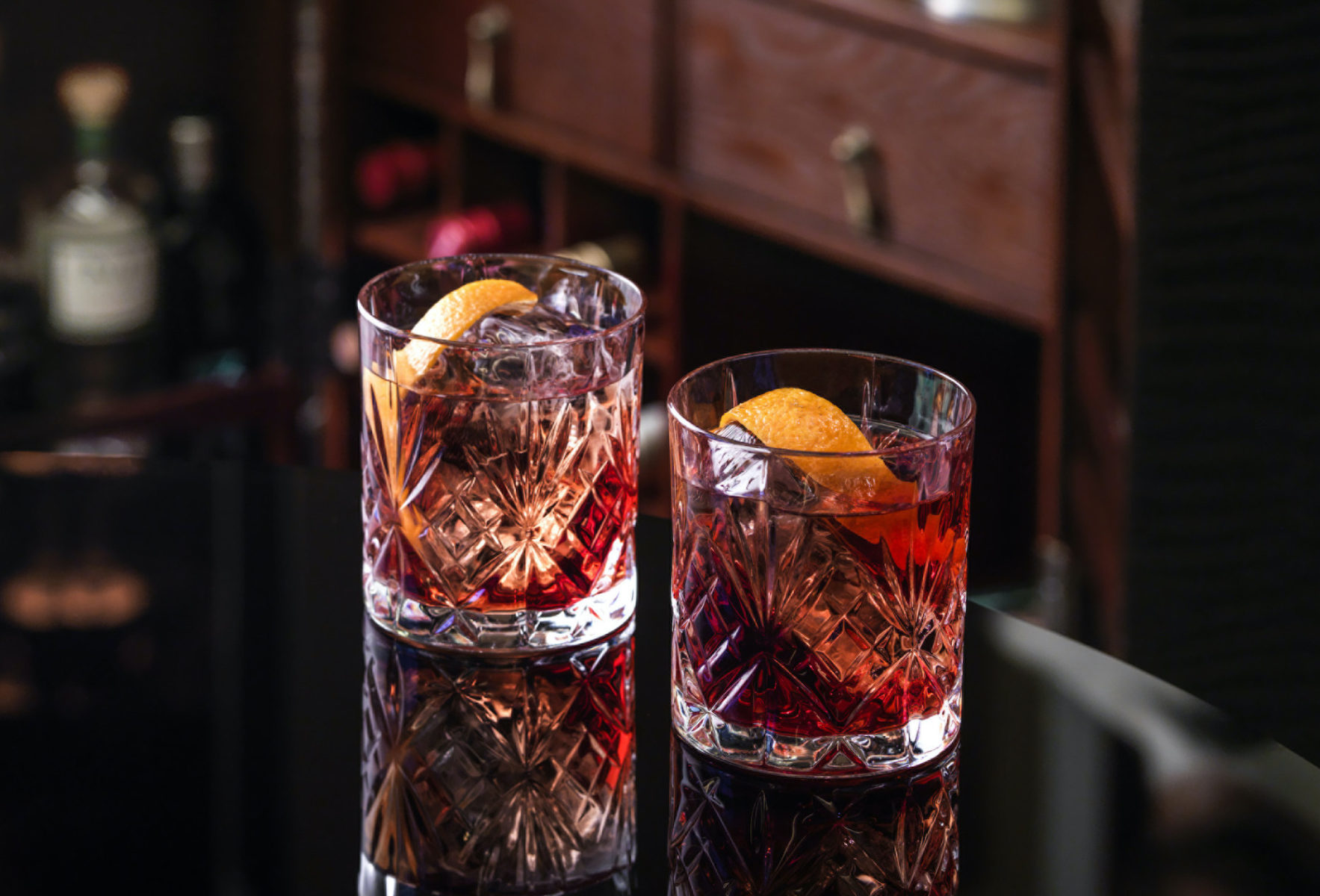 Two glasses with a Negroni cocktail