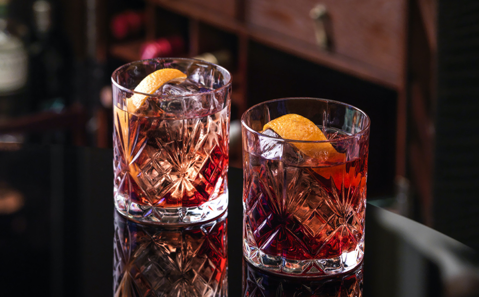 Two glasses of Negroni cocktail