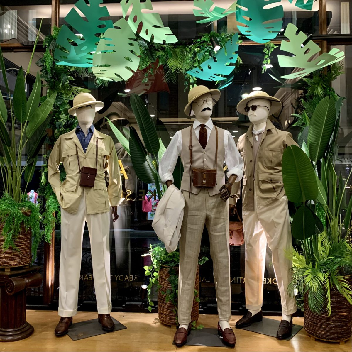 The latest window installation at 11 Savile Row showing off their bespoke shirting service
