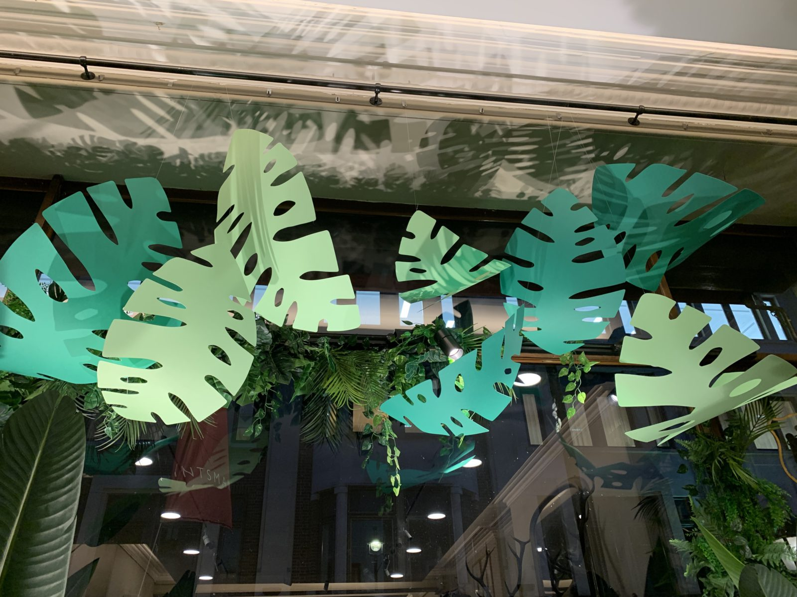 Green leaves for the new window display at the Huntsman